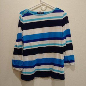 Size XL womans Striped 3/4 sleeve round neck tee